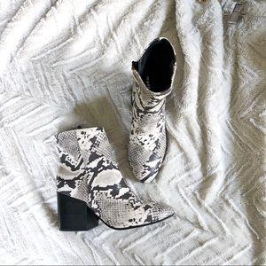 Madden Girl chunky heel snake print bootie 637A